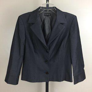 BEBE Shiny Charcoal Gray Slit Hem Blazer Jacket